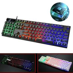 Colorful LED Illuminated Backlit USB Wired Rainbow Gaming Ke