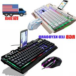 Computer Gaming Keyboard RGB LED with Mouse Backlit Mechanic