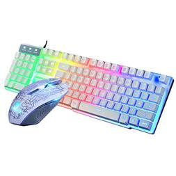 Games Keyboard & Mouse Combos T6 Rainbow LED Backlight USB E
