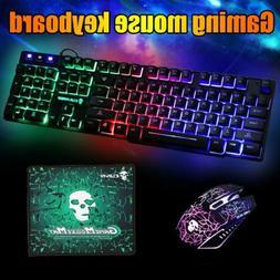 Gaming Keyboard Mouse Set Rainbow LED Backlit Mechanical for