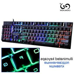 Gaming Keyboard Rainbow Backlit Colorful Led Wired For Gamer