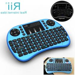 Rii Handheld i8+blue wireless keyboard with Backlit  for sma