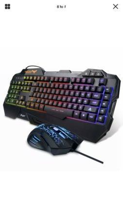 Havit Keyboard Rainbow Backlit Wired Gaming Keyboard Mouse C