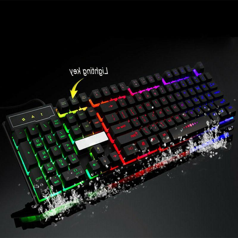 PC Computer Gaming Keyboard Feel LED Light Backlit