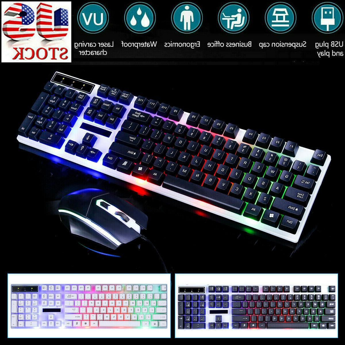 computer desktop gaming keyboard and mouse combo