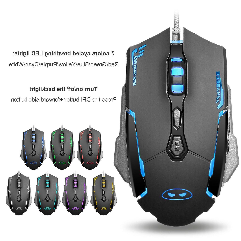 Gaming Mouse Combo RGB Backlit LED Mechanical Feel 2400 DPI