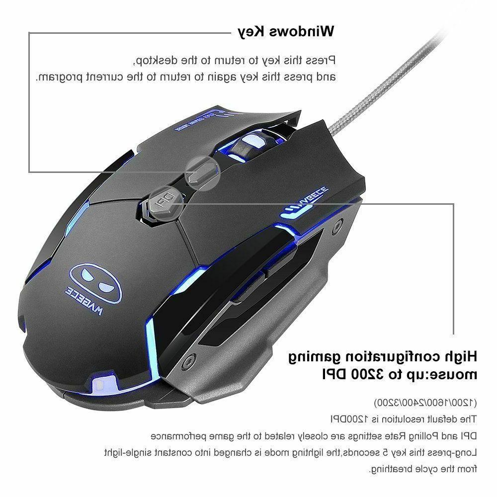 Gaming Keyboard & Mouse Combo RGB LED Mechanical Feel DPI