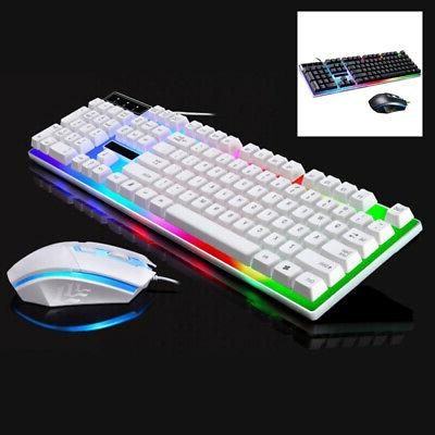 Colorful LED Lighting Keyboard Mouse Set For PS4/PS3 Xbox On