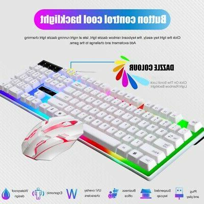Multi-Colored Changing Backlight LED Gaming Keyboard and Mouse Set