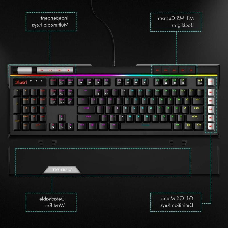 Havit Mechanical Keyboard LED Ergonomic Detachable