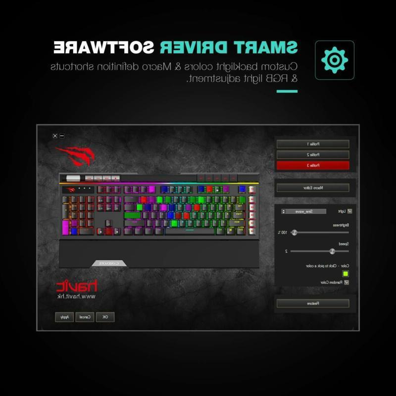 Havit RGB Mechanical Keyboard LED 120 Ergonomic Detachable