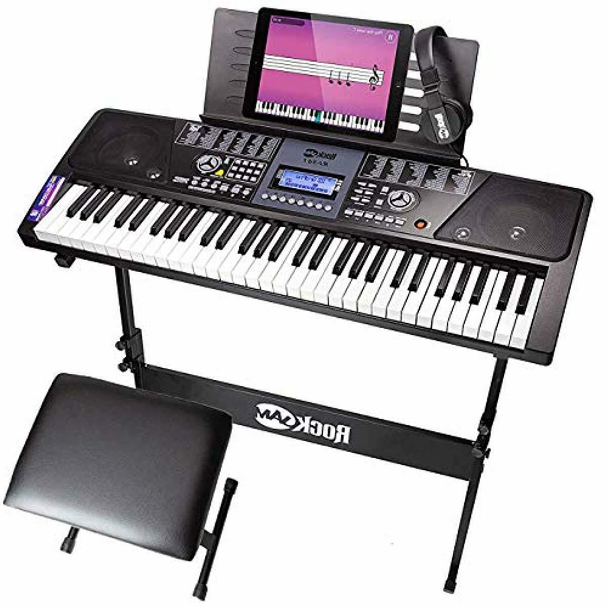 rockjam 61 key electronic keyboard piano superkit