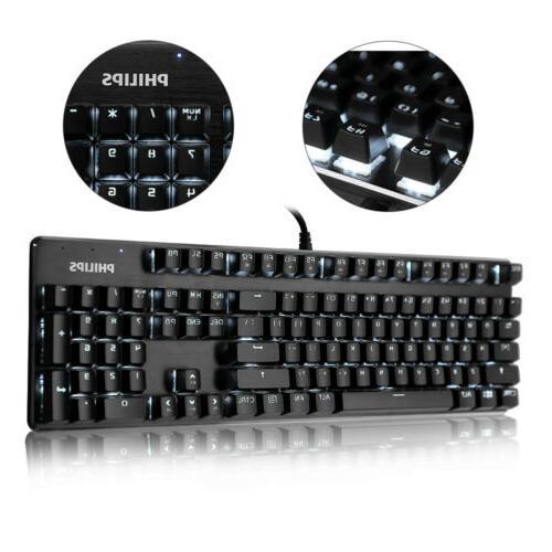 USB WaterProof Wired Mechanical Handfeel Gaming Keyboard LED
