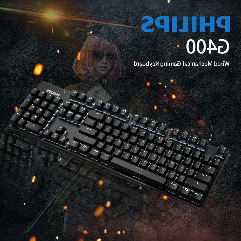 Wired USB Mechanical Gaming Keyboard LED Illuminated 104 Key