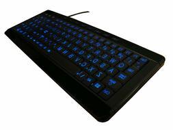Large Print LED Lighted Computer Keyboard Full Size USB Blue