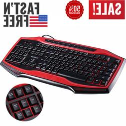 LESHP Basic Wired Gaming Keyboard Floating PC Game for Lapto