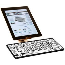 Large Print Black on White Bluetooth Mini Keyboard for iPads