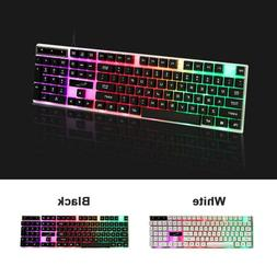 Computer Gaming RGB Keyboard LED Colorful Backlit Ergonomic
