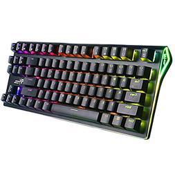RGB Mechanical Keyboard 87-Key RGB LED Backlit Wireless Blue