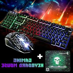 T6 Rainbow Backlit USB Wired Gaming Keyboard Mouse Pad Set F