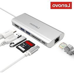 Lenovo USB-C Hub, Aluminum Type C Adapter with HDMI Port, Gi