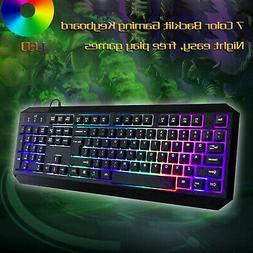 USB Wired Gaming Keyboard illuminated Light Up 7 Led Backlit
