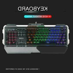 Wired Ergonomic Gaming Keyboard Rainbow RGB Backlight USB La